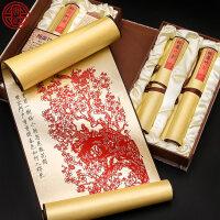 送外国人的中国特色礼物 剪纸丝绸画装饰画 中国风特色礼品送老外出国小礼物手工艺品