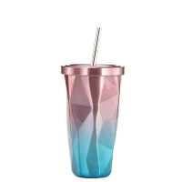 不规则双层304不锈钢吸管杯网红水杯ins风带吸管式的杯子大人成年少女创意不锈钢奶茶杯带盖礼品定制 吸管款 粉色 50