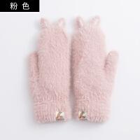 手套女冬季时尚针织毛线分指双层加厚加绒触屏保暖骑车写字手套男