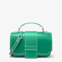 单肩斜挎包女时尚百搭色几何造型翻盖手提包 Green绿色