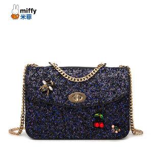 Miffy 米菲2017新款斜挎包 韩版时尚亮片单肩包链条女士包包潮