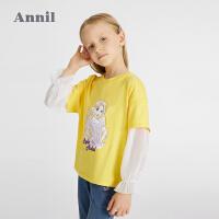 【1件5折价:114.5】安奈儿童装女童假两件T恤2021春新款网红拼接袖中大童迪士尼上衣