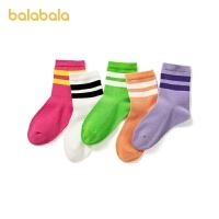 【2件6折:29.4】巴拉巴拉宝宝袜子冬季男女童中筒袜儿童棉袜中大童小童幼童五双装