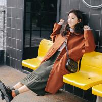 复古焦糖色毛呢大衣女韩版中长款2018妮子外套学生国茧型宽松