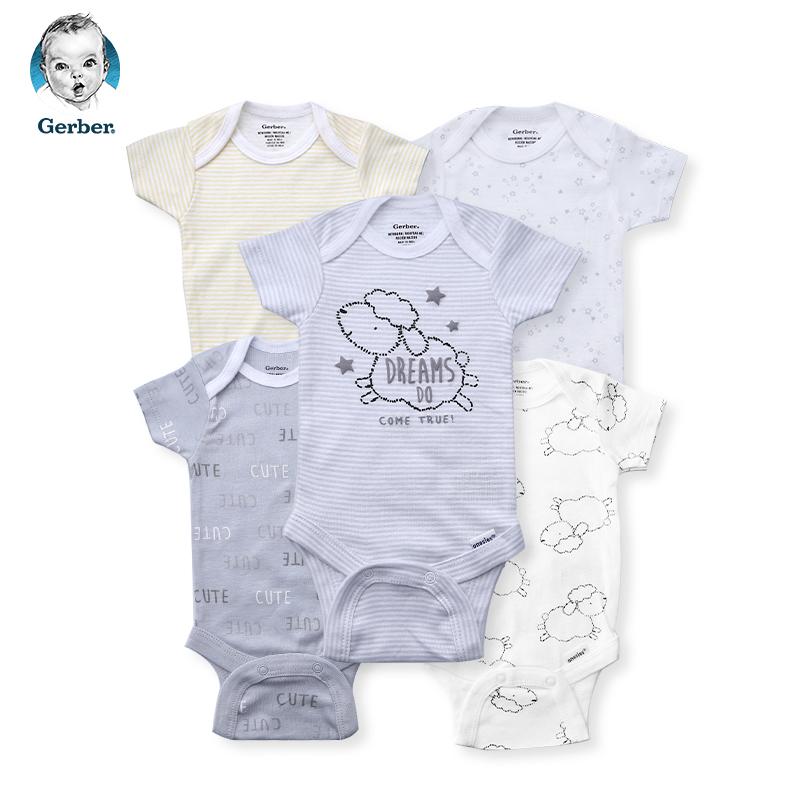 美国直邮  Gerber嘉宝婴儿连体包屁衣时尚款5件套 绵羊图案   包邮包税