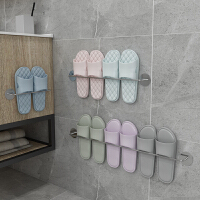 免打孔浴室拖鞋架墙壁挂式挂钩卫生间厕所收纳架沥水挂墙架子门后收纳用品
