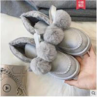 雪地靴女短靴加绒棉靴冬季新款韩版毛球加绒短筒靴学生女鞋子