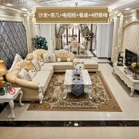 欧式布艺沙发 简欧皮布沙发小户型客厅转角整装沙发组合 +电视柜+餐桌+4把餐椅 组合