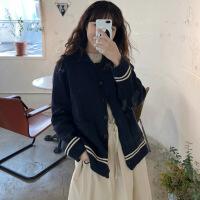 韩国学院风秋季新款条纹撞色翻领长袖针织毛衣开衫短外套女装 均码