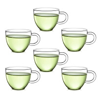 6只�b80ML玻璃茶杯子 �t茶杯功夫茶具玻璃小茶杯�О哑繁�透明品茗杯子耐�岜�功夫夫茶具