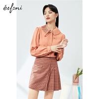 伊芙丽气质雪纺衫2021春季韩版设计感薄款系带泡泡袖小上衣女