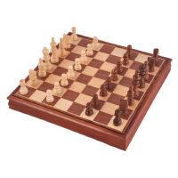 国际象棋套装木制棋盘 桦木立体象棋实木棋子 便携儿童象棋套装