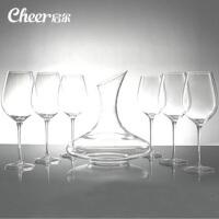 启尔(Cheer) 葡萄酒波尔多手工红酒杯醒酒器家用套装 共7件套