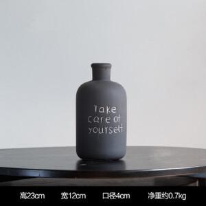 美庭 巴塞琳英文字母黑色小花瓶 花插花器多款可选