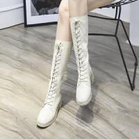长靴女绑带chic及膝靴前系带高筒靴马丁长靴骑士机车米白色女靴子