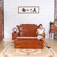 包邮简迪红木家具红木婚床实木床1米5新中式床主卧孔雀大床床头柜花梨木双人床