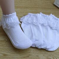 蕾丝花边儿童袜子纯棉7-9岁女孩公主春秋3-5岁白色小学生舞蹈袜短 5双 白- 花网眼B70#