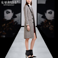 2017冬装新款钉珠羊毛呢中长款风衣外套PU皮短裙时尚两件套女装潮