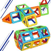 正版magspace磁力片30片磁力建构片磁性积木儿童益智玩具3岁以上