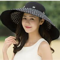 夏季帽子女太阳帽户外出游防晒大沿沙滩帽可折叠防紫外线遮阳帽
