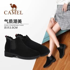Camel/骆驼女鞋 2018冬季新款 粗跟气质质感帅气时尚甜美女短靴