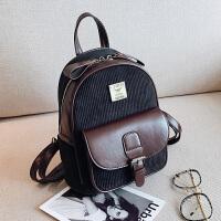 女士包包2018新款双肩包女韩版时尚百搭潮流条绒迷你小背包书包女