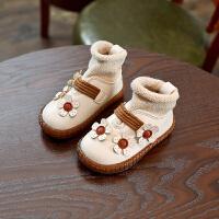 2018冬季新款韩版儿童雪地靴女童靴子公主鞋棉鞋短靴袜子鞋宝宝鞋