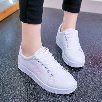 平底单鞋休闲运动鞋女系带学生百搭韩版小白鞋女鞋子