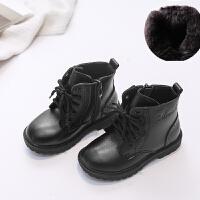 秋冬款童鞋儿童马丁靴男女童宝宝1-2-3-6-7岁黑色皮靴5短筒靴子潮 超纤 加绒