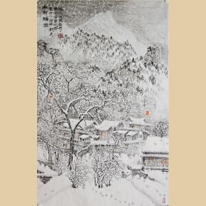 《山村瑞雪》山东美协会员、天津美院毕业、东方雪景画创始人李群臣【R811】