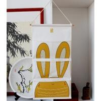 布艺挂袋可爱卡通收纳袋门后墙上书袋大号儿童床头多层壁挂袋 68*35cm