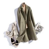 反季羊毛大衣女双面呢毛呢外套中长款2018秋新款韩版零羊绒呢大衣