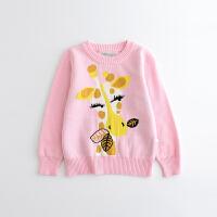 童装女童毛衣套头2017装新款针织衫打底衫卡通印花儿童圆领毛衣 粉色