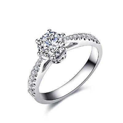 佐卡伊 真爱桂冠 白18k金六爪钻戒求婚结婚戒指钻石女戒珠宝首饰何以笙箫默 主角定情钻戒 为爱加冕