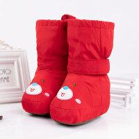 秋冬婴儿鞋子宝宝棉鞋0-1岁男童学步鞋6-12个月女宝高帮靴子软底 大号红色笑脸 5-12个月包棉裤 帮高20内长13