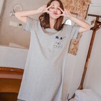 韩版睡衣女夏季短袖卡通可爱纯棉睡裙女夏天全棉可外穿长裙家居服