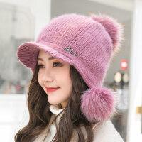 女士可爱保暖兔毛帽子 时尚百搭毛线帽女 新款潮流针织帽子 韩版女士毛球纯色帽子