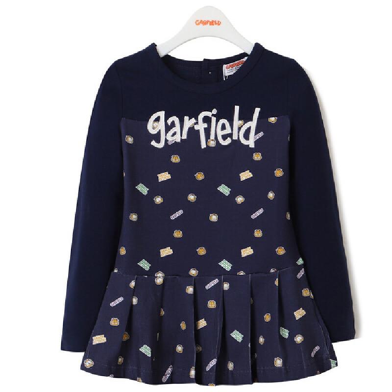 加菲猫儿童连衣裙 新款春装童装 卫衣裙长袖GKW17560 女童卫衣 新款