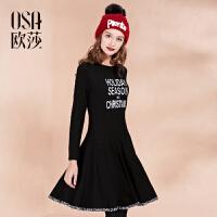 OSA欧莎女装冬装新款 时尚字母图案圆领中长款连衣裙D13012