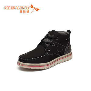 红蜻蜓男鞋工装鞋2017冬季新款马丁靴男真皮靴子高帮加绒男士短靴