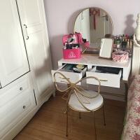 北欧ins化妆桌欧式梳妆台网红化妆桌子卧室简约小户型烤漆白色桌 组装