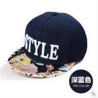 女款嘻哈帽棒球帽鸭舌帽 时印花 平檐街舞帽