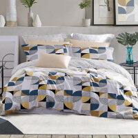 LOVO家纺 全棉纯棉四件套欧式几何纹样撞色彩设计床上套件床单被套 拼趣几何