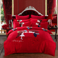 婚庆大红色全棉床单四件套结婚用新婚被子喜被纯棉床上用品六件套