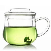 玻璃杯三件式花茶杯 300ml 小草帽 小�m雅