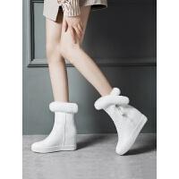 兔毛内增高雪地靴女2018新款防水皮面白色短靴冬加绒棉鞋中筒靴子
