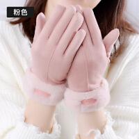 手套女冬保暖加厚可爱韩版卡通五指分指防风骑行学生加绒手套