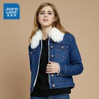 真维斯女装 冬装 时尚牛仔短外套