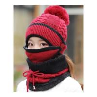 帽子女冬天加绒加厚骑车防风帽啊保暖护耳帽围脖冬季防寒毛线帽女 可调节