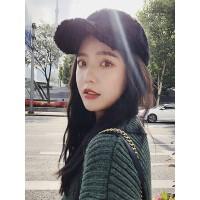 韩版时尚加厚保暖帽子女 潮流百搭休闲毛绒帽子 简约黑色加绒棒球帽新款鸭舌帽